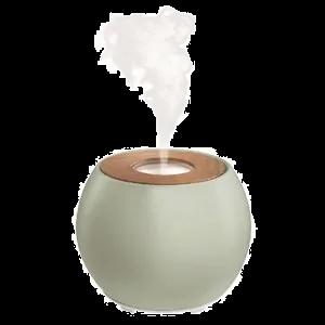 De æteriske olier dryppes i rent vand, der opløses i en diffuser